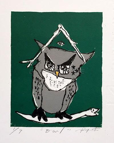 KIyoshi Soda - owl (lithograph)