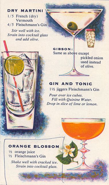 Illustrated retro cocktail recipes from the Fleischman's Mixer's Manual booklet, circa 1950s. I've long been fascinated by the Gibson cocktail onion, which seems used for nothing else. Do cocktail onions get lonely? ;|