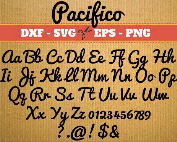 Polices SVG pour cricut, Monogramme, Pacifico svg alphabet de police, Svg Font; Svg, Dxf, Png; script svg, svg polices, svg police alphabet