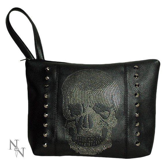 Borsa da donna in stile gotico a forma di teschio, con strass, colore: nero, Borsa in pelle, 29 cm