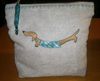 hand embroidery -  pouch with dachshund