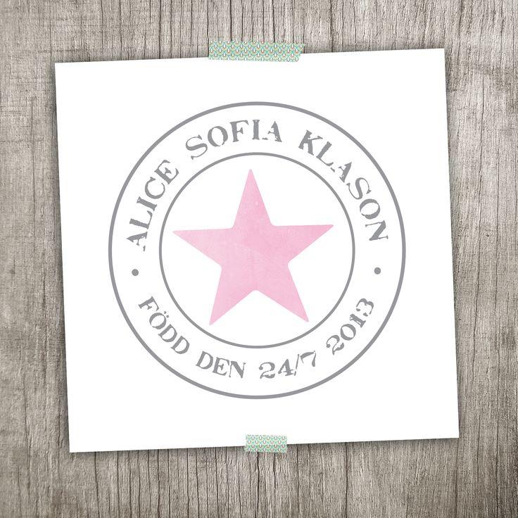 Namntavla, doptavla - Stjärna  annagorandesign.shop.textalk.se