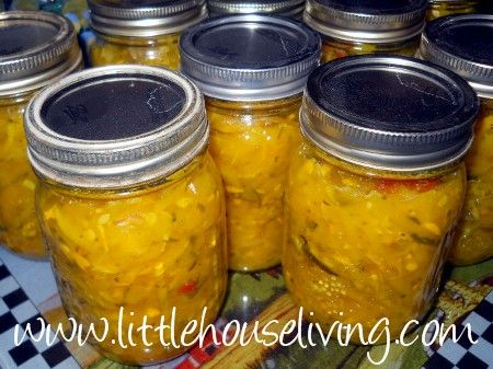 Zucchini Relish.  Wonder if she used the yellow zucchini to get this color?