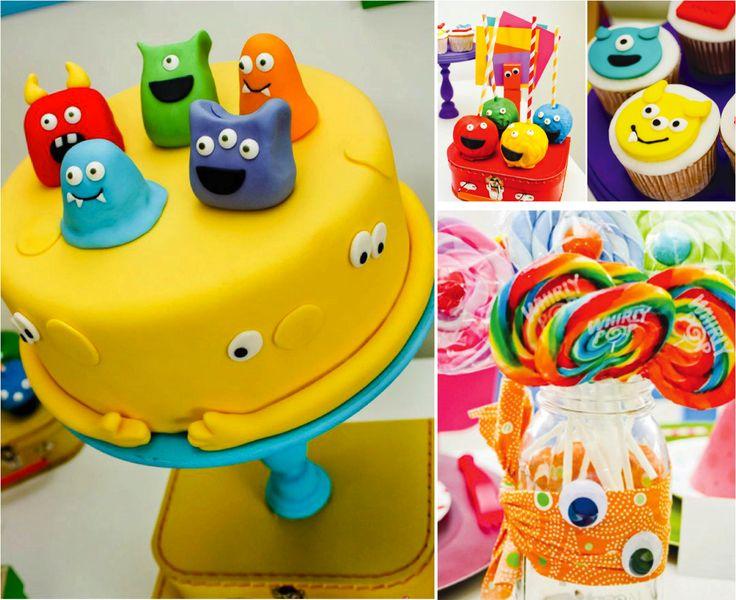 Tarta, cupcakes y cakepops para fiesta infantil de monstruos