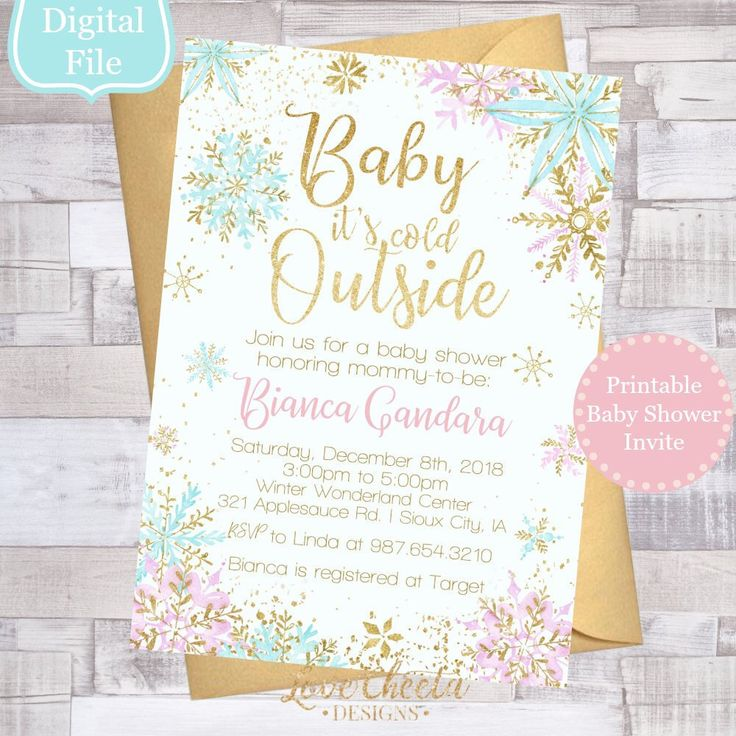 Winter Baby Shower Invitations, Printable Girl Baby Shower Invite, Snowflake Baby Shower, Winter Wonderland Invite, Winter Snow Theme