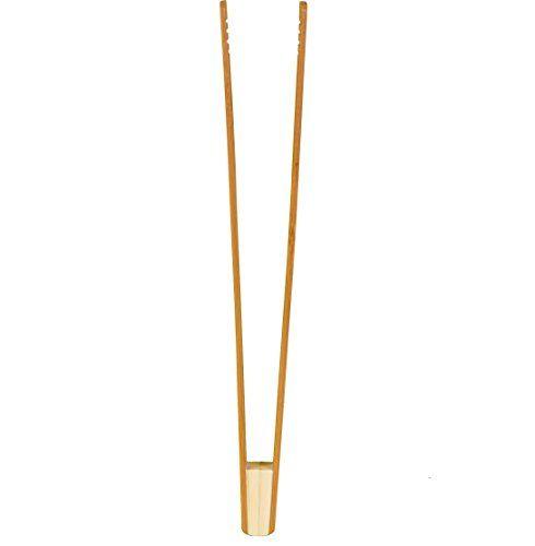♻ 30cm Bambus Zange ♻ NEUES VERBESSERTES DESIGN Bambus Servierzange, Grillzange, Salatbesteck, Buffetzange, Holzzange