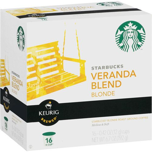 My new favorite flavor of coffee. Starbucks Blonde Ground Coffee Keurig K-Cups, Veranda Blend, 16ct  It's more affordable to buy the ground coffee in the bag and use a reusable k-kcup insert. Yum!