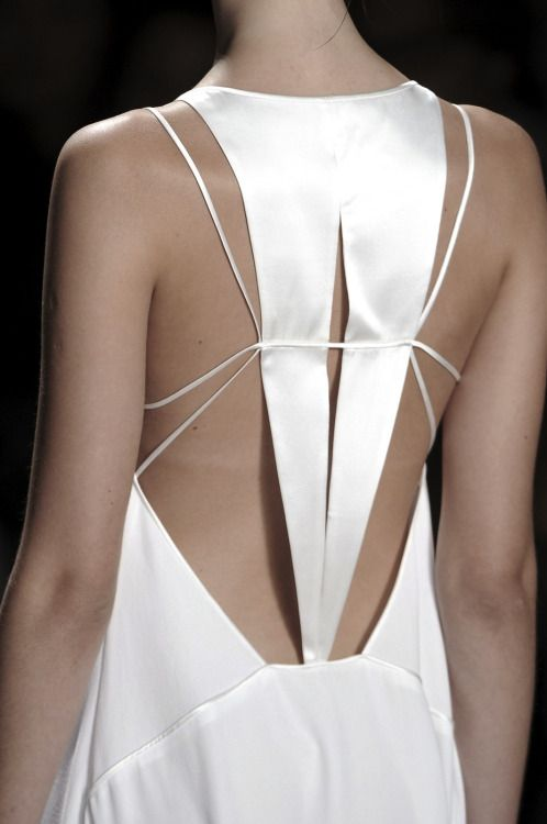 Chic white dress back with graphic symmetry; fashion details // Herve Leger Spring 2011