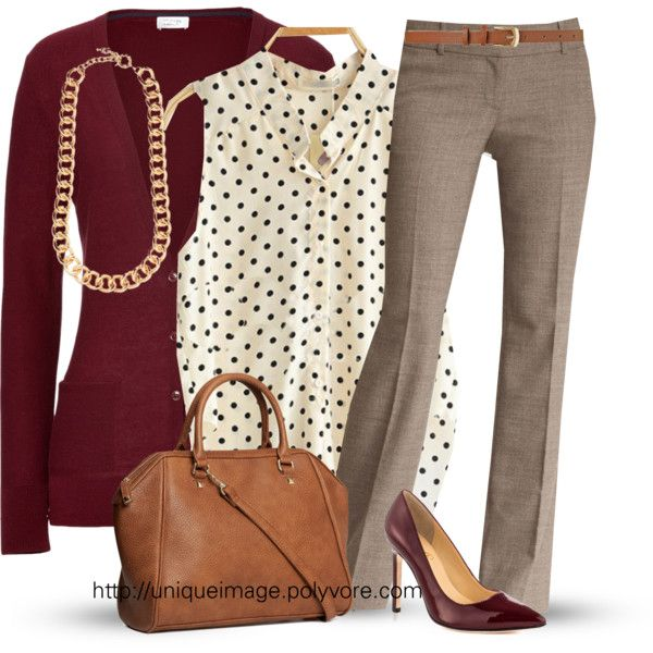 Pinning because I like the idea of pairing burgundy, gray, and a polka dot print together. Very chic for fall.