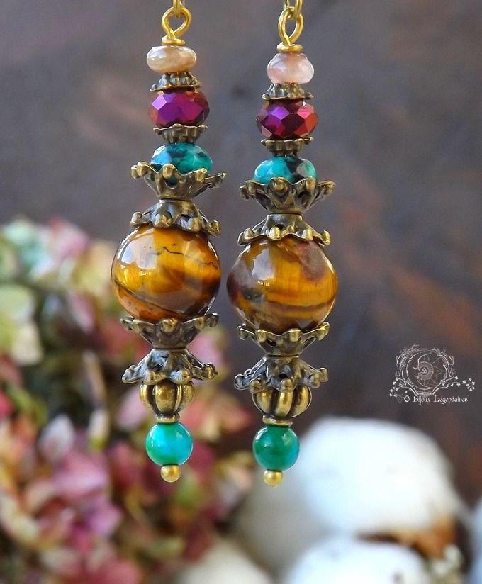 Boucles larges Oeil de tigre, Tourmaline rose, Turquoise africaine, Chrysocolle et cristal: ᘛ Murmures enchantées ᘚ : Boucles d'oreille par obijouxlegendaires