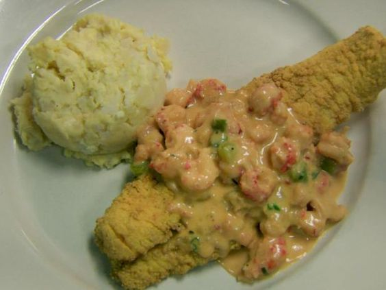 Cafe des Amis' Fried Catfish topped with Crawfish Au Gratin Sauce Recipe from Food Network