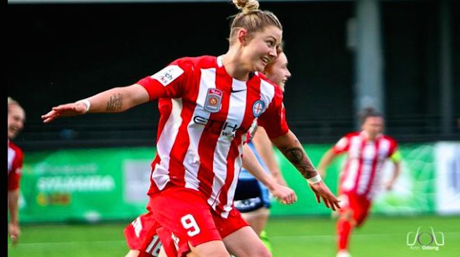 Larissa Crummer opens W-League's newcomers, Melbourne City's account with an 11th minute goal followed by another at half-time. Other scorers in their 0-6 thrashing of Sydney FC were Lisa De Vanna, Beattie Goad, Marianna Tabain and Melina Ayres. Photo by Ann Odong. 19.10.15