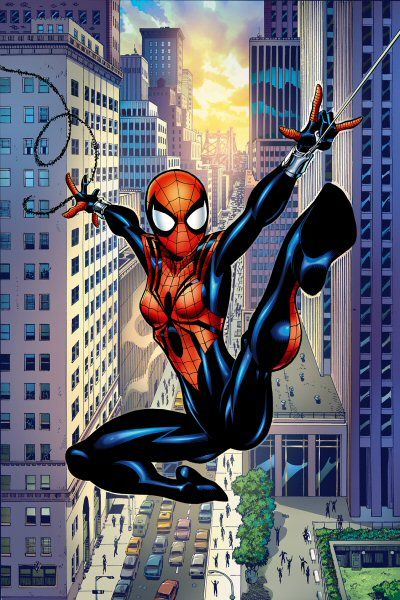 Spider Girl  Name - May Parker  Parents - Peter & Mary Jane Parker  Brother - Benjamin Parker  Grandparents/Aunt  - Ben & May Parker  Was cloned at birth and still doesn't know if she is the clone or not.
