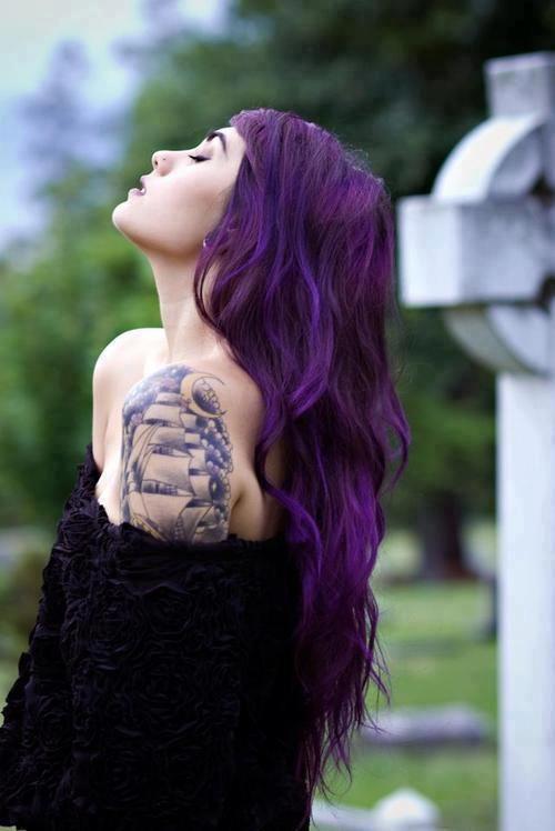 long purple wavy hair, love the dark colour