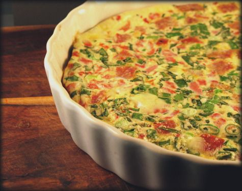 MY WEEKLY BREAKFAST: Paleo Frittata. (2 secrets to avoid leathery eggs: wide dish & acid -to tenderize eggs) This recipe calls for bacon, a red pepper, and onion. I use whatever I have in the fridge.