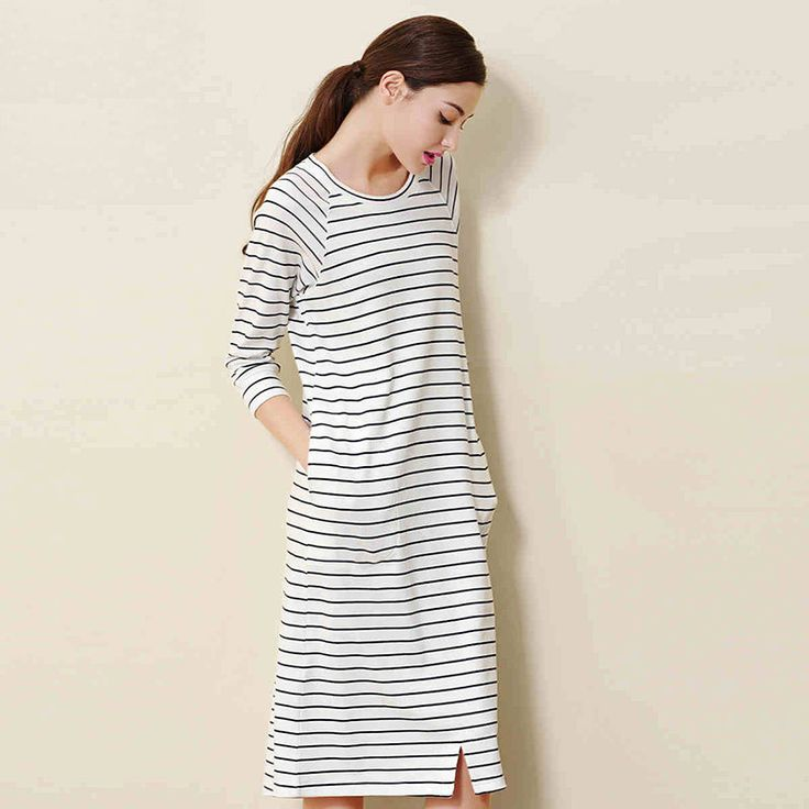 Full sleeve knee high 100% cotton striped night gown. Also called sleep shirts are comfortable and elegant.