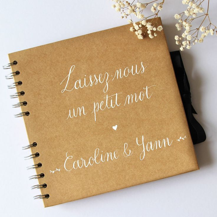 personalized kraft guestbook leave us a few words names rustic and original wedding guest