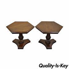 Pair Vintage Ethan Allen Georgian Court Cherry Pedestal Hexagonal Side End Table