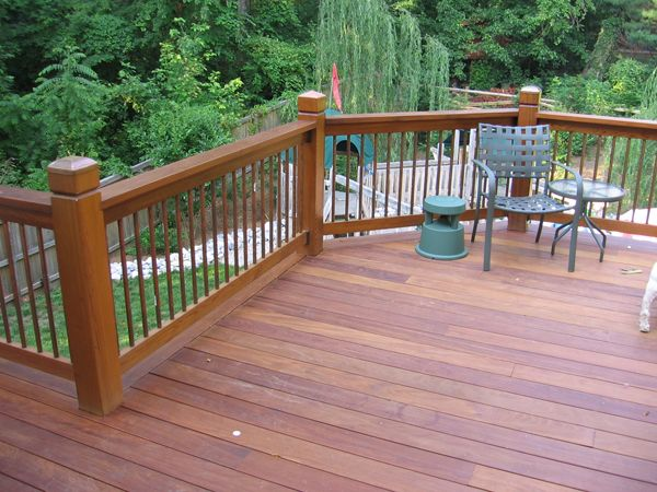 The 22 best images about front porch railing ideas on for Wood deck designs pictures