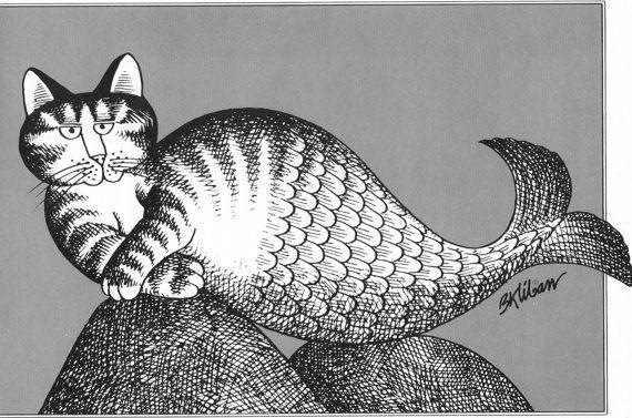 B Kliban Cat Original Vintage Print Comic Art Mermaid Qat Mercat Merqat By the Sea Shore