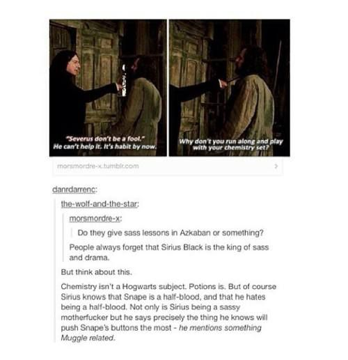 This moment summarizes their time in Hogwarts. Snape just wants revenge for the torment he received as a child while Sirius continues to mock him. >>>>>>> though I think that Percy Jackson is the king AND god of sass