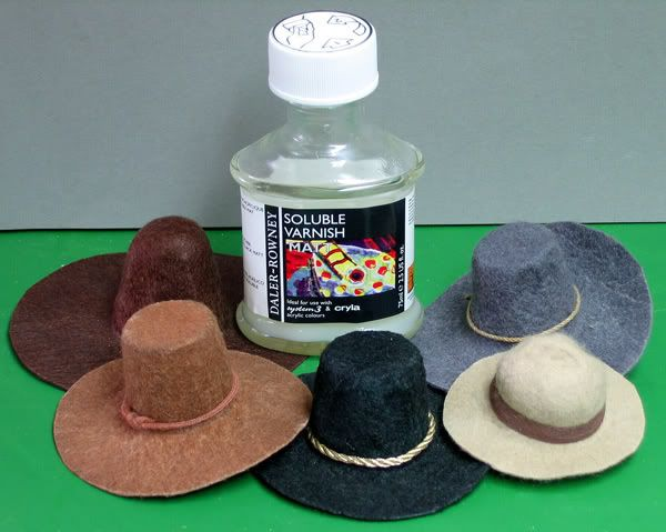 Great technique for miniature hats ~ felt stretched over tiny molds ~ adaptable to 1:12 scale | Source: One Sixth Warriors