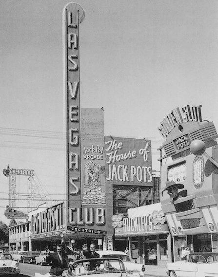 vintage Las Vegas photo of Fremont Street (downtown) and the Las Vegas Club Casino