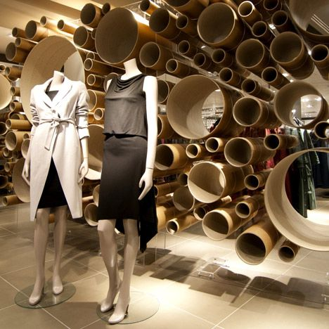 "JOHN LEWIS FASHION PAVILION, London, UK, ""Suspended cardboard tubes"", creative by Grimshaw Architects, pinned by Ton van der Veer"