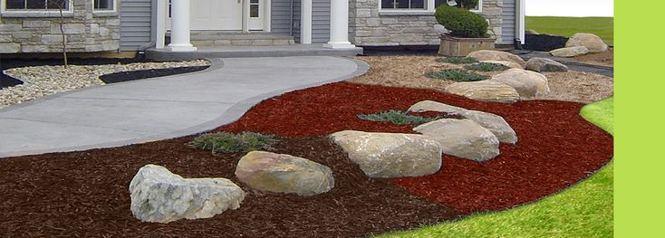 15 best images about mulch designs on pinterest for Small red rocks for landscaping