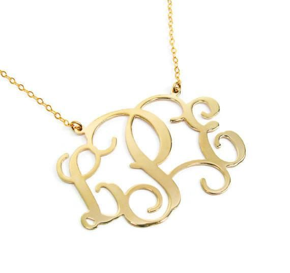 """Monogram Necklace. Gold plated sterling silver monogram necklace. Personalized jewelry. 1"""" pendant. Gold monogram necklace. Monogram jewelry"""