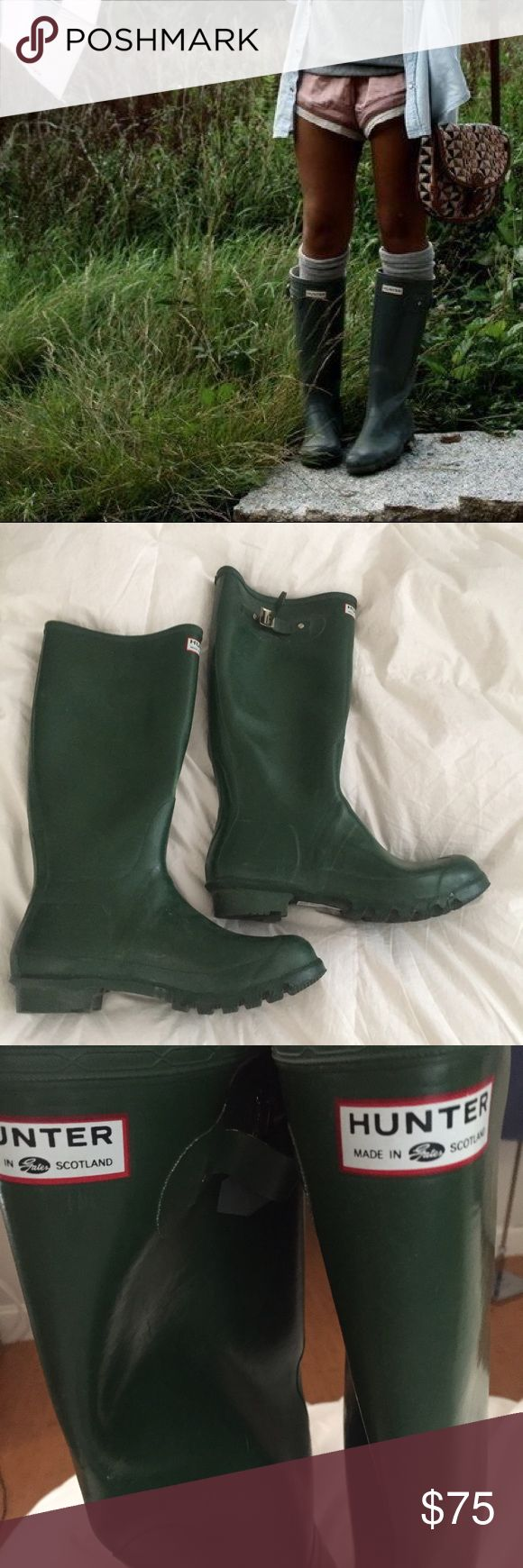 Hunter Original Green Rain boots women 12 men's 11 This is a pair of Hunter Boots. The original green wellies. They are in great condition. Size is womens 12 or a men's 11. Can be worn by either. Hunter Boots Shoes Winter & Rain Boots