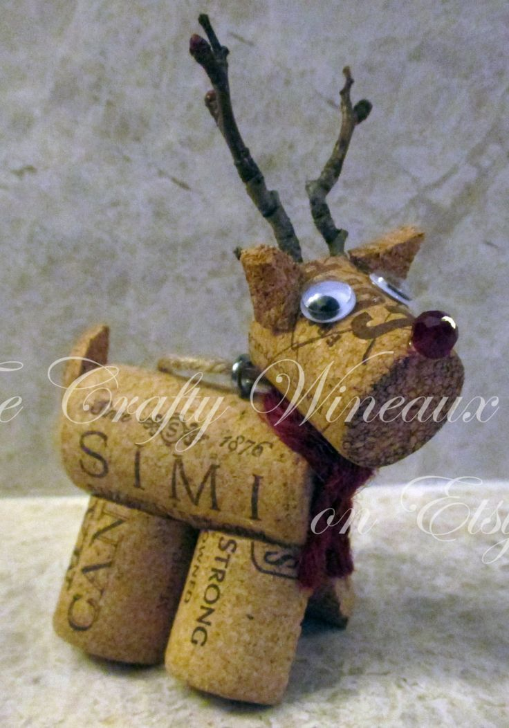 Rudolph, Reindeer Burlap, Twine and Wine Cork Angel Ornament, Christmas Ornament, Gift Tag, Wine Bottle Charm - pinned by http://pin4etsy.com