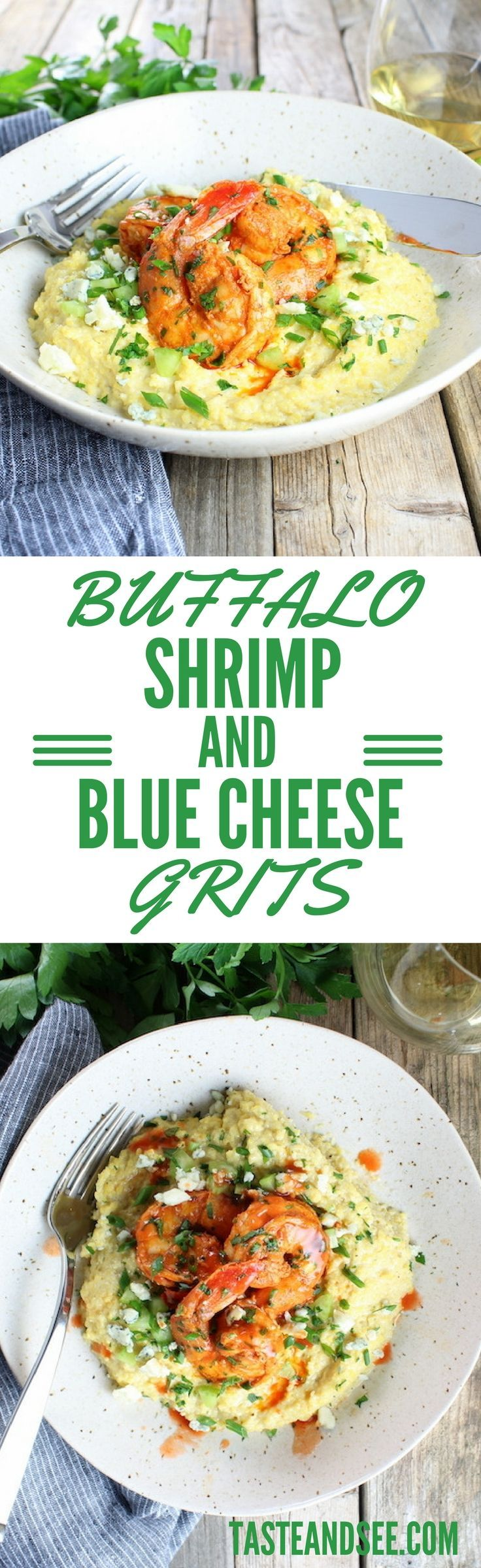 Buffalo Shrimp and Blue Cheese Grits - a marvelous twist on a southern classic. Bold & zesty with spicy seasonings, hot sauce, & creamy blue cheese. #shrimp http://tasteandsee.com