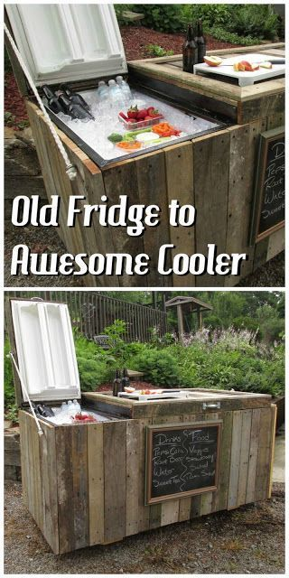 DIY Rustic Cooler From Broken Refrigerator and Pallets. Labor Junction / Home Improvement / House Projects / Outdoor / Patio / House Remodels / www.laborjunction.com