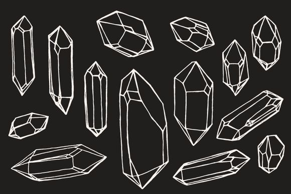 Check out Crystal / Mineral / Gem Drawings by Feanne on Creative Market