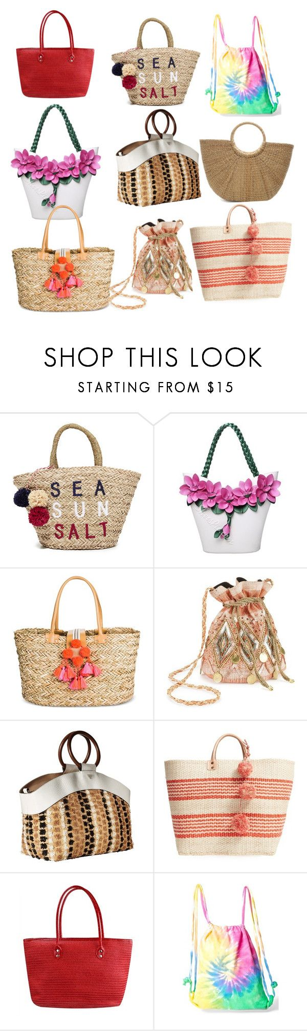 """""""Beach bags"""" by gwenblondy ❤ liked on Polyvore featuring Sundry, Merona, Miss Selfridge, Sam Edelman, Mar y Sol and Colortone"""