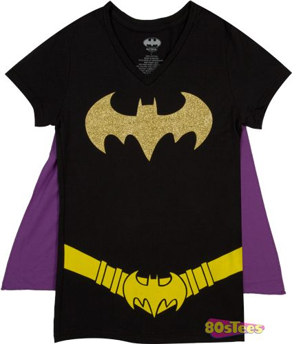 Ladies Batman Caped V-Neck Shirt - Because I was a tomboy as a kid and my mum made me a Batman costume when I was 4