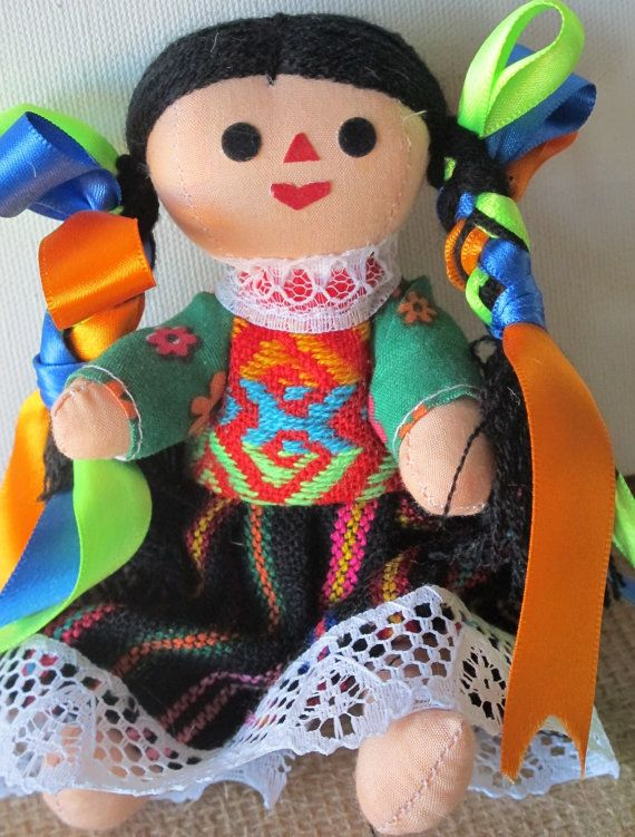 Mexican Doll Maria cloth doll. Mexican Colors by joselinicrafts, $9.00
