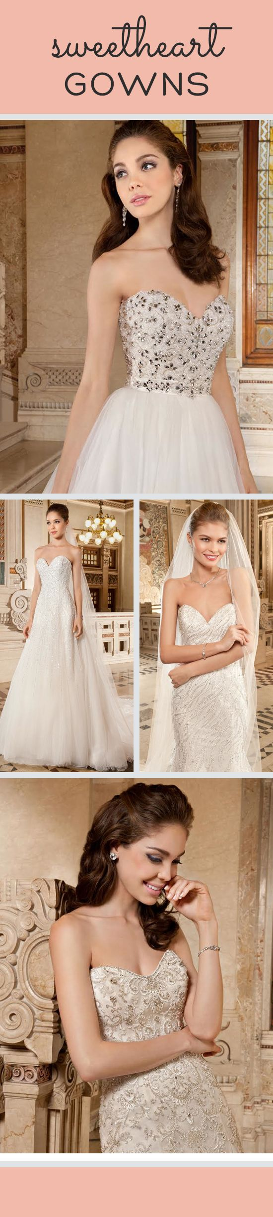 We are loving the gorgeous details on these #sweetheart gowns from @demetriosbride