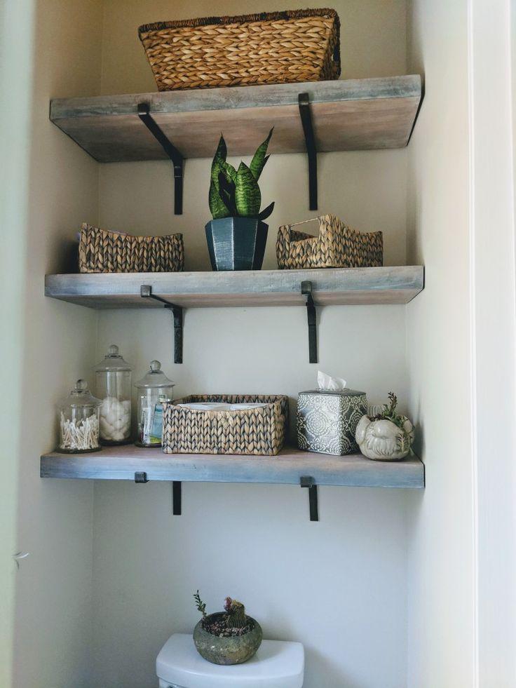 Shelves above toilet in a white wash finish   – Master bath – #Bath #finish #MAS…   – shelves