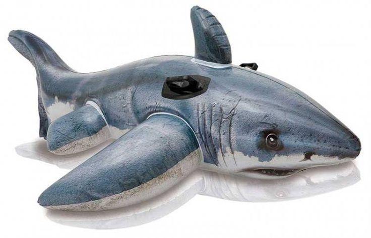 Luxe Opblaasbare Witte Haai (173x107cm) (Intex) #intex #zwembadspeelgoed #strandartikelen