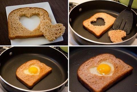 Una forma romántica de cocinar huevos...