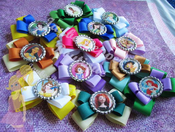 Disney Princess hair bow girls party favor hair clip princess