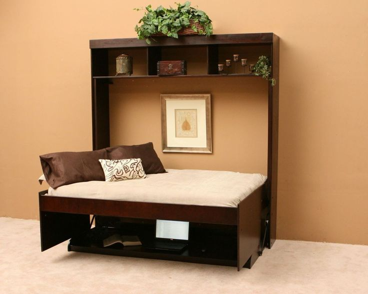 Idea for mom!   Full Size Hidden Murphy Bed Wall Unit Desk Work Station Bookcase Hutch Office #Transitional