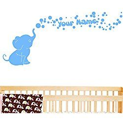 Elephant Bubbles Vinyl Wall Decal with Your Personalized Name Nursery Decor Great Gift (Light Blue)