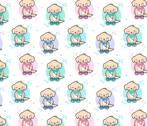 Lovely Puppies and hearts fabric by nossisel on Spoonflower - custom fabric