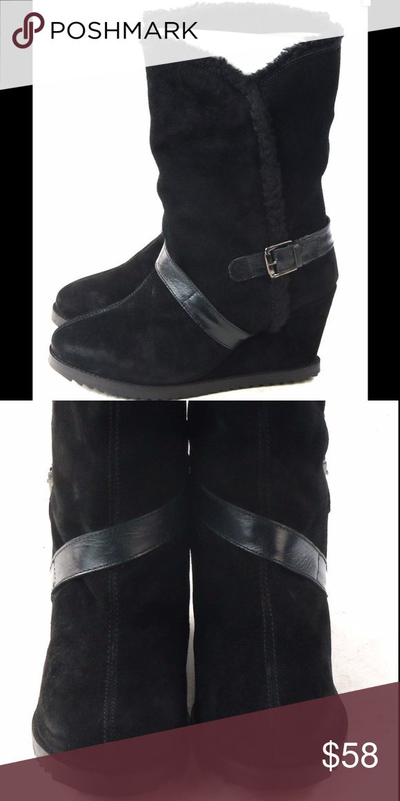 Skechers Black Faux Suede Wedge Boots Adding soon Skechers Shoes Wedges