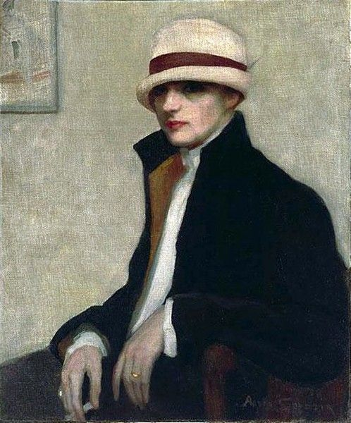 """""""The Parisienne"""" (1924) portrait by Agnes Noyes Goodsir an Australian painter who moved within lesbian circles in Paris in the 1920s and 1930s."""