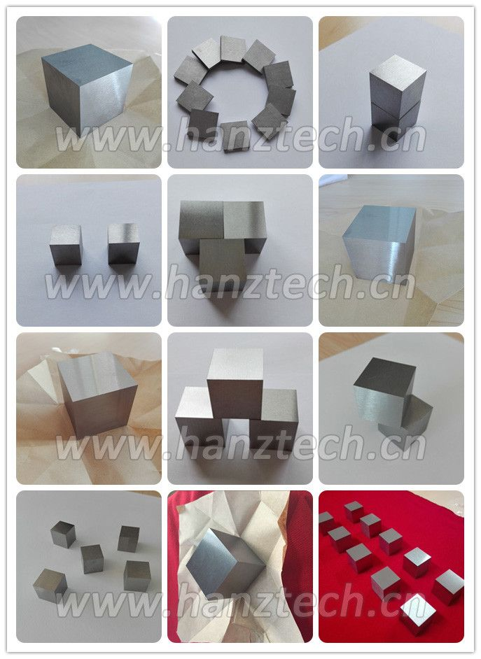 Good Mechanical Strength Tungsten Cube And Tungsten Alloy Cube Material: Pure tungsten and tungsten heavy alloy Standard: ASTM B760, GB-T 3875, ASTM B777 Application:  Balance weight, paper weight,target, Military industry, and so on Processing: Rolling, Forging, Sintering Surface: Polish, alkali cleaning Density: 18.0 g/cm3 --19 g/cm3 Size: 3mm to 50mm Normal size:12.7mm  20mm  25.4mm  38.1mm  50mm Other specifications, we all can be customized according to customer's drawings.