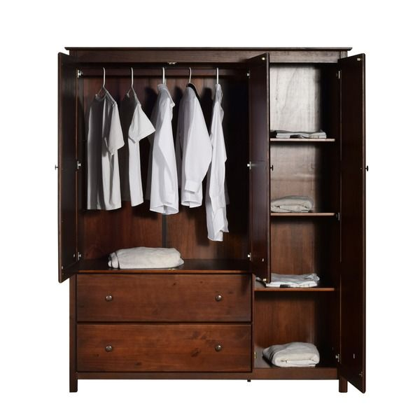Shaker 3 Door Cherry Finished Solid Wood Wardrobe Ping S On Armoires Home Bedroom In 2018 Pinterest Armoire